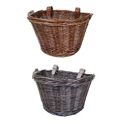 Bicycle Wicker Shopping Basket With Metal Carry Handle • 10.99£
