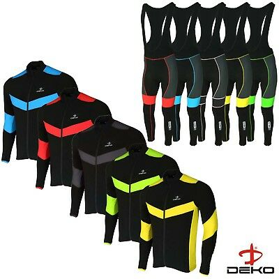 DEKO Mens Cycling Jersey Winter Thermal Top + Cycling Leggings Bib Tights Set • 39.95£