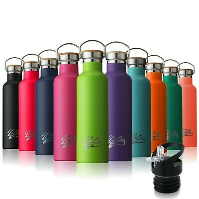 Stainless Steel Water Bottle Double Wall Vacuum Insulated Sports Gym Metal Flask • 17.99£