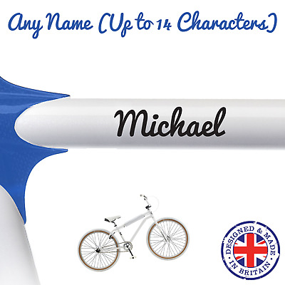 2 X Personalised Custom Name Bike Frame Vinyl Decal Stickers For Cycle Bicycle • 2.75£