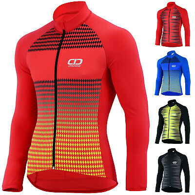 Didoo Cycling Jersey Long Sleeve Tops Mens Thermal MTB Full Zip Winter Jackets • 24.99£