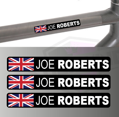3 X Personalised Rider Name Bike Frame Tube Stickers Cycling -  UNION JACK Flag  • 3£