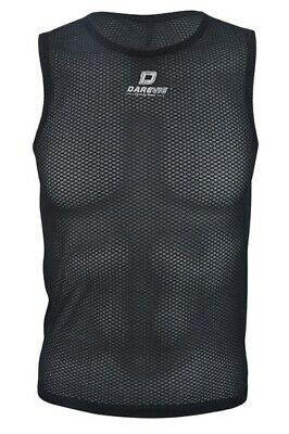 Mens Cycling Mesh Base Layer Vest Sleeveless Cycle Top Breathable Light BLACK • 14.99£