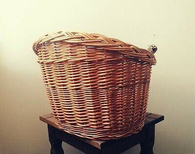 Bike Basket Wicker Front Natural With Handle Large • 20.45£