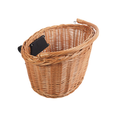 Bike Basket Wicker Natural Front One Click With Handle • 21.50£