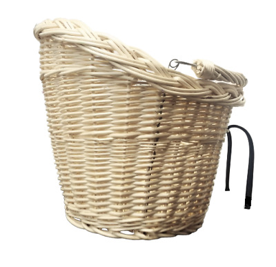 Bike Basket Wicker Front White With Handle Large • 21.75£