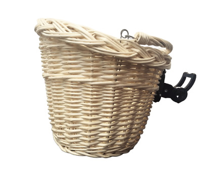 Bike Basket Wicker White Front One Click With Handle • 23.50£