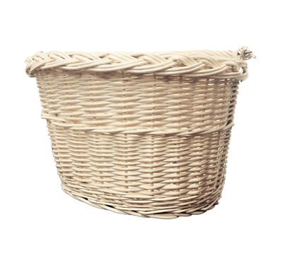 Bike Basket Wicker White Front With Handle  • 21.50£