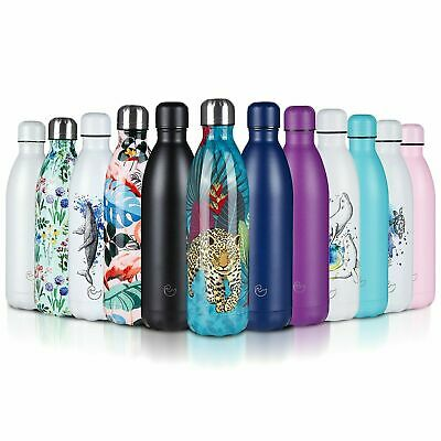 Stainless Steel Water Bottle Double Wall Vacuum Insulated Gym Metal Flask Sports • 12.99£