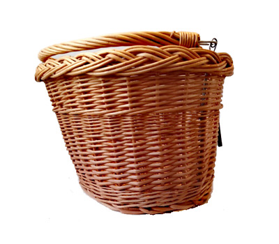 Bike Basket Wicker Natural Front With Handle Handmade • 19.75£