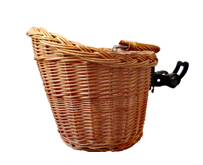 Bike Basket Wicker Natural Front One Click With Handle Large • 22.50£