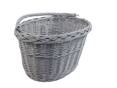 Wicker Bicycle Basket Grey Front One Click With Handle • 22.75£