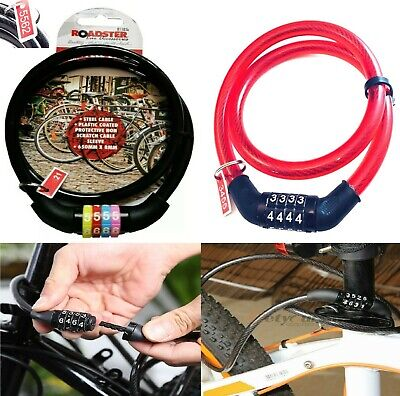 Combination Number Code Bike Bicycle Cycle Lock 8mm By 650mm Steel Cable Black. • 3.29£