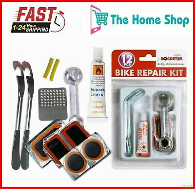 12pc Bike Bicycle Tyre Puncture Repair Glue Tool Kit For All Mountain & BMX Bike • 2.99£