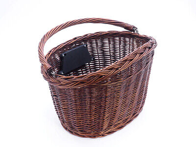 Bike Basket Wicker Dark Front One Click With Handle Large • 23.75£