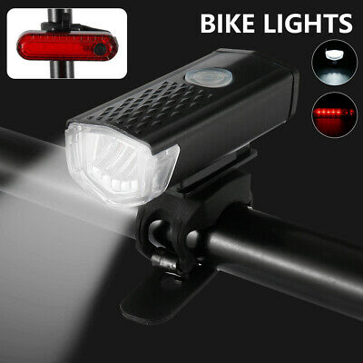 Bike Bicycle Lights USB LED Rechargeable Set Mountain Cycle Front Headlight BM • 6.29£