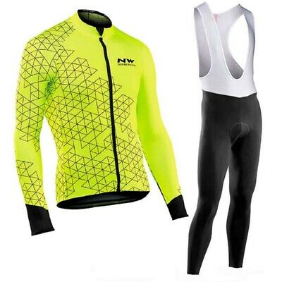 2020 Men Cycling Jersey Set Long Sleeve Bike Shirt Bib Pants Suit Sports Uniform • 19£
