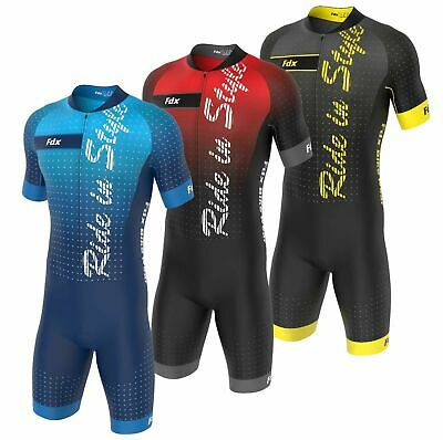 FDX Mens Cycling Skinsuit Stylish Padded Trisuit One Piece Cycling Speedsuit Kit • 29.99£