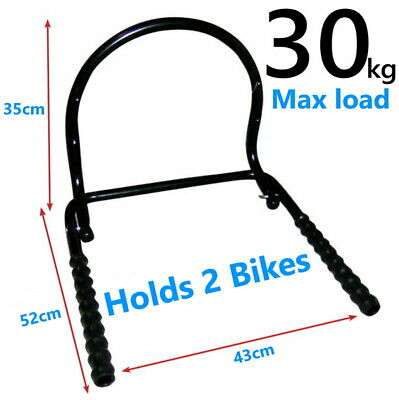 Bike Folding Storage Rack Holds 2 Bikes Wall Mounted Bicycle Hooks Shed Garage • 15.95£