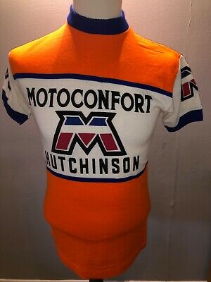 Vintage Motoconfort Hutchinson Wool Style Cycling Jersey Size Large • 45£
