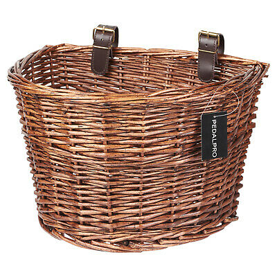 Pedalpro Front Wicker Bicycle Shopping Basket Leather Look Straps/cycle/bike • 13.99£