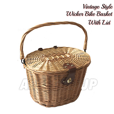 Bicycle Wicker Basket Shopping Bag With Lid Bike Cycling Carry Handle • 19.78£