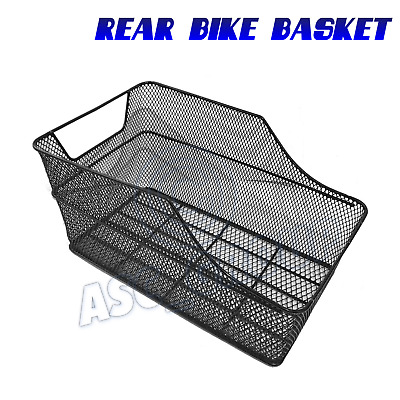 Rear Black Mesh Wire Fixed Mounted Bike Bicycle Basket Carrier Rack • 21.99£