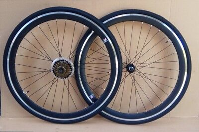 7/21 Speed BLACK Racing Road Gear Bike Bikes Wheels Wheelsets 700c Front +Rear  • 80£