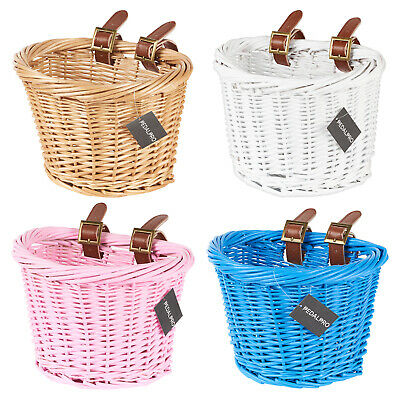 PedalPro Childrens Wicker Bicycle Shopping Basket For Kids Boys Girls Bike Cycle • 14.99£