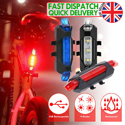 Rechargeable USB LED Bike Bicycle Tail Red Light Cycling Back Multi LED Colour • 5.98£