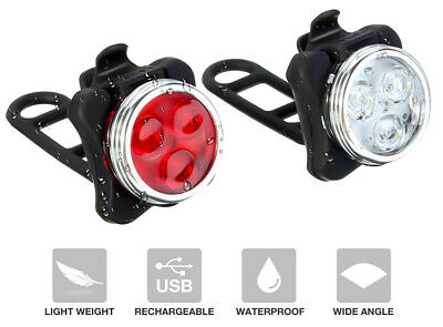 Rechargeable USB Bicycle LED Head And Tail Cycling Bike Front Back Headlight Set • 7.78£