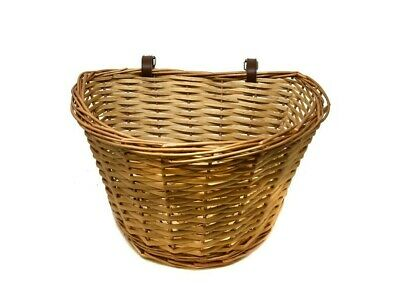 Ammaco 15L Vintage Style Wicker Front Bicycle Basket With Tan Straps • 18.99£