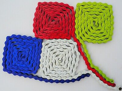 CLEARANCE Cosmetically Damaged Red1/8 Single Speed Coloured Cheap Chain Red Blue • 3.49£