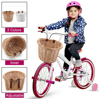Removable Childrens Wicker Bicycle Shopping Basket For Kids Boys Girls Bike  • 13.93£