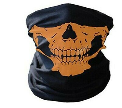 Outdoor Sport Head Scarf Headband Face Mask Bandana Band Black Big Orange Scull • 3.99£