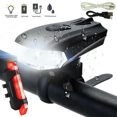 MTB Bike Bicycle Cycling USB Rechargeable LED Head Front Light/Rear Tail Lamp UK • 9.99£
