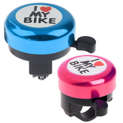 `I LOVE MY BIKE` BICYCLE BELL Hand Ring Cycle Horn Mountain Kids Road PINK BLUE • 4.99£
