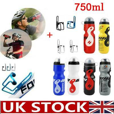 750ML Mountain Bike Bicycle Cycling Water Drink Bottle And Holder Cage Sports UK • 5.49£