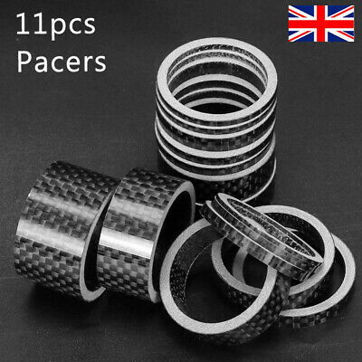 11pcs Bicycle Stem Spacers Carbon Fiber 1-1/8  Mountain Road Bike Headset Washer • 11.99£