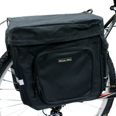 Pedalpro Bicycle/bike/cycle Black Twin/double Strong Rear Pannier Bag • 12.99£