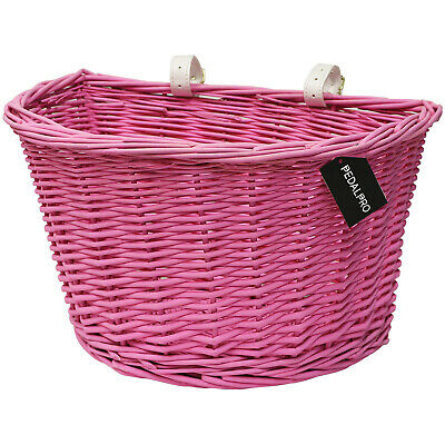 Pedalpro Pink Wicker Bicycle Basket With Leather Look Straps Bike/cycle Shopping • 11.99£