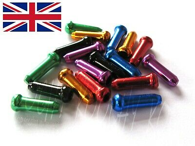 Anodised Bike Gear Brake Wire Inner Cable End Ferrules Crimp - 7 Colours - 5/10x • 1.49£