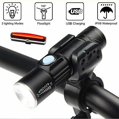 Bike Bicycle Cycling Head Front Rear Lights MTB Tail Lamp USB Rechargeable Set • 9.99£
