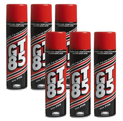 6 X GT85 PTFE LUBRICANT SPRAY CAN AEROSOL CHAIN OIL LIBE 400ml WATER DISPLACER • 16.89£