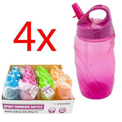 4 X Drink Water Bottle Sports Flip Straw Tritan Running Gym Yoga Cycling 500ml • 6.99£