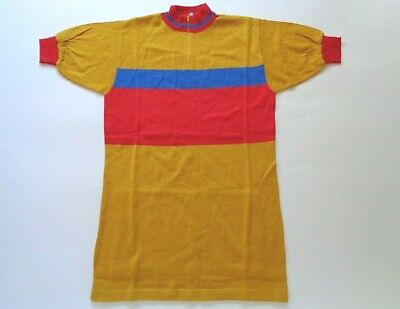 *NOS Vintage 1970s Italian Wool Cycle Jersey (yellow/red/blue) Small* • 45£