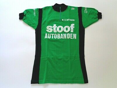 NOS Vintage 1970s STOOF AUTOBANDEN Campitello Belgian Cycle Jersey (Green) Small • 55£