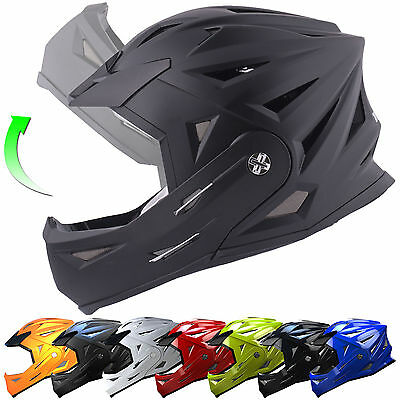 Tuzo Full Face Flip Up Front Downhill Trials BMX Mountain MTB Bike Cycle Helmet • 34.99£