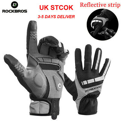 Rockbros Cycling Winter Bike Full Finger Gloves Touch Screen Anti-Slip Mitts UK • 10.99£