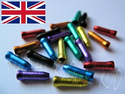 Anodised Bike Gear Brake Wire Inner Cable End Ferrules Crimp - 8 Colours - 5-50x • 3.79£
